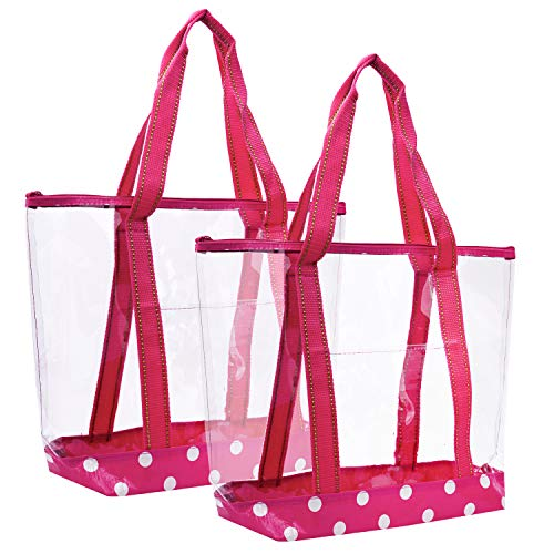 VENO 2 Packs Large Clear Bag, Transparent Vinyl PVC Tote Bag, Long Shoulder Handbag with Zipper Closure for Stadium, Event, Outdoor, Beach, Pool, Work, Sports Games, Shopping, Grocery (PNK)