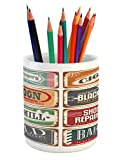 Lunarable Vintage Pencil Pen Holder, Dated Antique Old Shop Store Label Icons Manufacturing Commercials Textured Design, Printed Ceramic Pencil Pen Holder for Desk Office Accessory, Multicolor