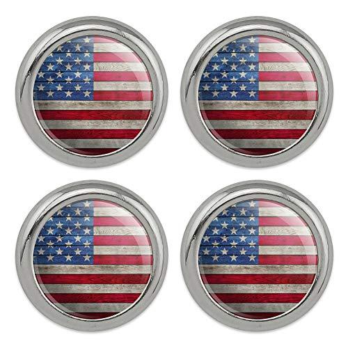 Rustic American Flag Wood Grain Design Metal Craft Sewing Novelty Buttons - Set of - Woodgrain Snap