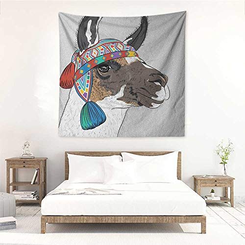 - Willsd Llama Wall Tapestry for Bedroom Alpaca with an Ethnic Colorful Hat Peruvian Sketch Style Animal Abstract Pattern Occlusion Cloth Painting 63W x 63L INCH Multicolor