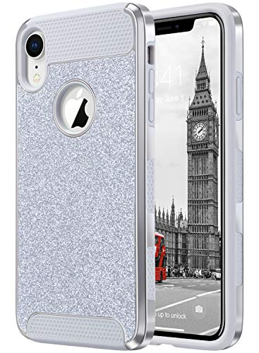 ULAK iPhone XR Case, Luxury Glitter 2 in 1 Dual Layer Slim Fit Soft TPU Hard Laminated with Sparkly Shiny Faux Leather Chrome Shockproof Protective Cover, Silver