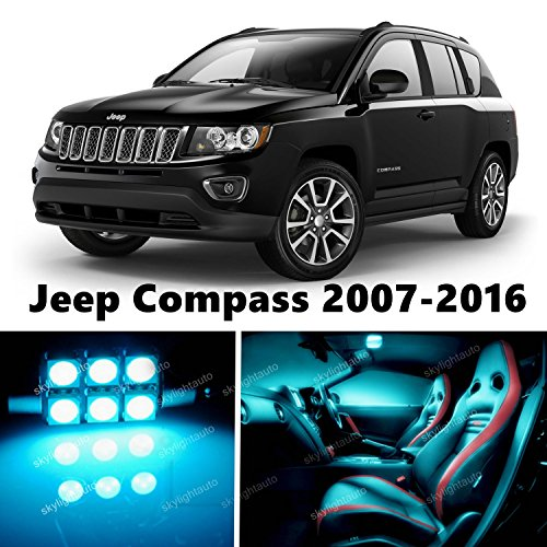 10pcs LED Premium ICE Blue Light Interior Package Deal for Jeep Compass 2007-2017