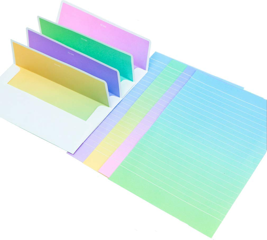 MIAO JIN 64 Pcs Creative Gradient Color Stationery Paper Letter with 32 Envelope (Multi Colors)