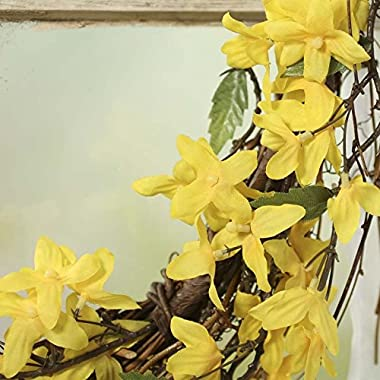 Factory Direct Craft Artificial Sunny Yellow Forsythia and Twig Wreath for Home Decor, Crafting and Displaying