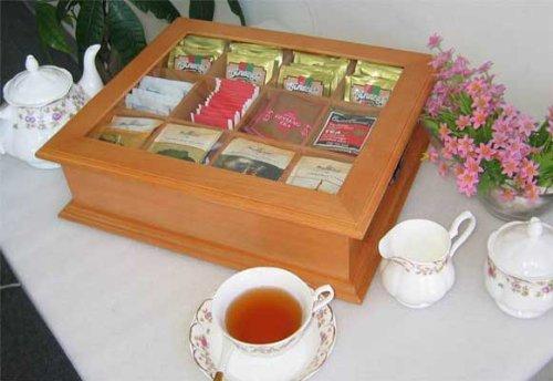 Large Tea Bag Chest Cabinet / Tea Bag Storage Box, Solid Wood (Oak Finish) (Finish Tea Oak Wood)