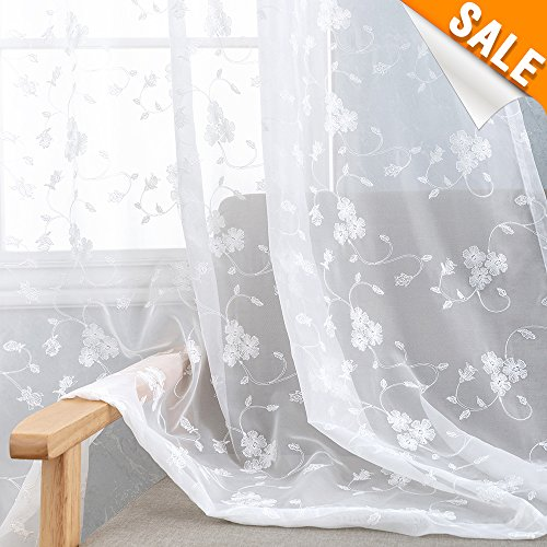 White Floral Embroidered Sheer Curtains for Living Room 84 inch Length Rustic Embroidery Window Treatment Set Voile Drapes for Bedroom Rod Pocket, 2 Panels