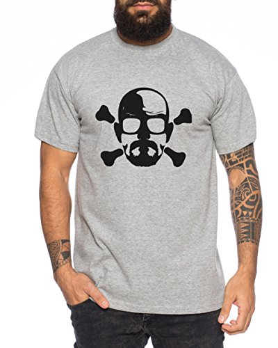 Bad Heisenberg Skull White Meth Walter Crystal Breaking tv serie Herren T-Shirt, Farbe:Dunkelgrau Meliert;Größe:L