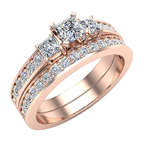 Past Present Future Princess Cut Diamonds 3 stone Accent Round Diamonds Wedding Ring Set 1.06 carat total weight 14K Rose Gold (Ring Size ()
