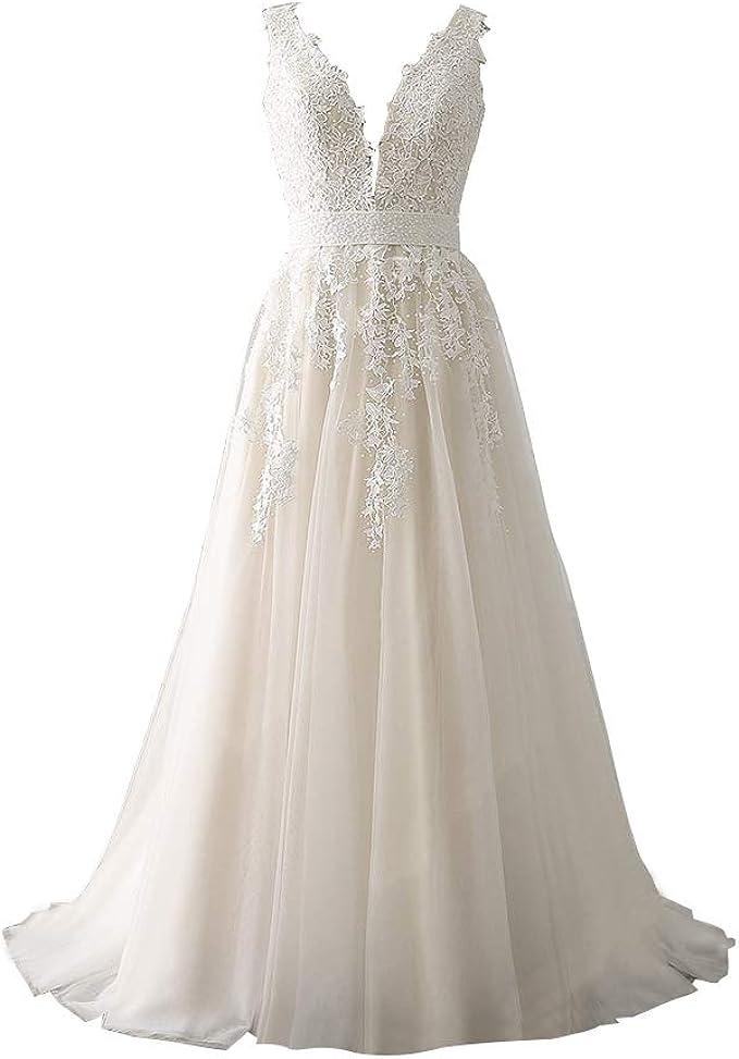 Abaowedding Women S Wedding Dress For Bride Lace Applique Evening Dress V Neck Straps Ball Gowns