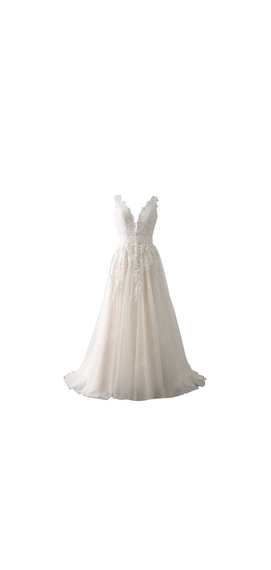Women's Wedding Dress For Bride Lace Applique Dress