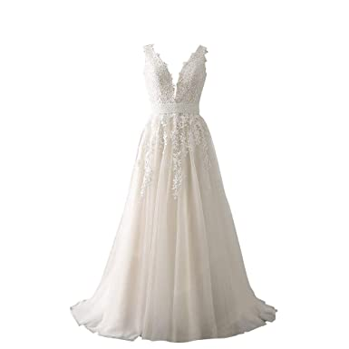 a2c6d3d35e63 Abaowedding Women's Wedding Dress for Bride Lace Applique Evening Dress V  Neck Straps Ball Gowns Ivory