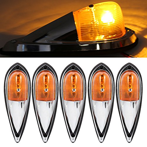 Cab High Shell Cover (SaiDeng 5Pcs Amber Cab Marker Roof Running Clearance Lights Teardrop Style Universal Marker Light for Truck Semi-trailer)