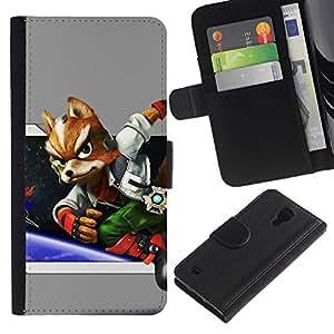 NEECELL GIFT forCITY // Billetera de cuero Caso Cubierta de protección Carcasa / Leather Wallet Case for Samsung Galaxy S4 IV I9500 // Espacio Fox
