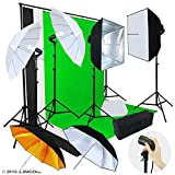 Linco Lincostore Photo Video Studio Light Kit AM155 - Including 3 Color Backdrops (Black/Whtie/Green) Background Screen