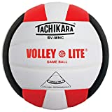 Tachikara SV-MNC Volley-Lite volleyball with Sensi-Tech cover, regulation size but lighter (scarlet/white/black)