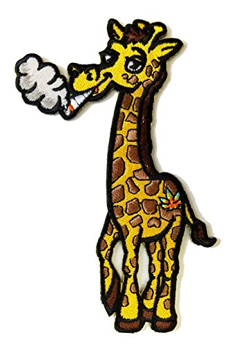 Pot Smoking Pals Funky Giraffe - Iron on Embroidered Patch -