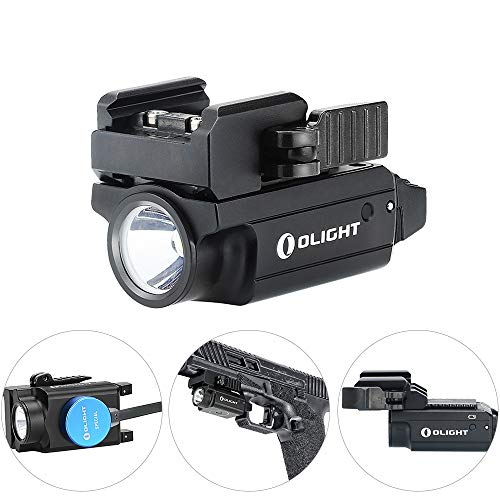 Olight PL-Mini 2 Valkyrie 600 Lumens USB Rechargeable Weaponlight, Cree XP-L HD CW LED Compact Gunlight with Adjustable Rail, Build-in Battery 100 Meters Waterproof IPX6, Black