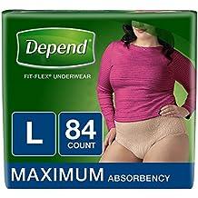 Depend Fit-Flex LARGE Maximum Absorbency Underwear for Women, 84 ct.