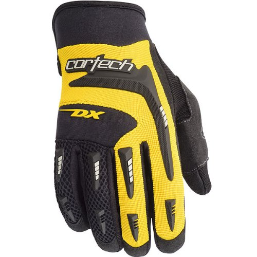 (Cortech DX 2 Men's Textile Street Racing Motorcycle Gloves - Black/Yellow / Medium)