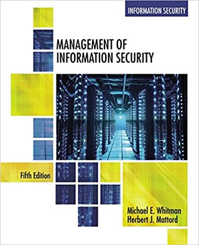 Management Of Information Security 9781305501256 Computer Science