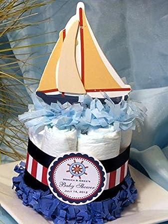 Amazon Com Sailing Sailboat Nautical Baby Shower Mini Diaper Cakes Handmade By Lmk Gifts Baby