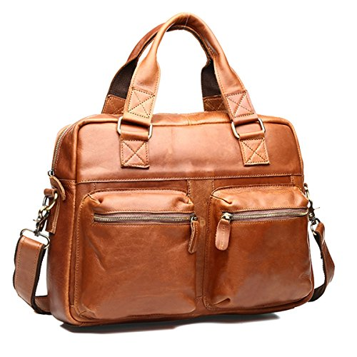 Brown Crazy Horse Leather Office Briefcase Tote LaptopTravel Messenger Shoulder Bags With Soft Handle