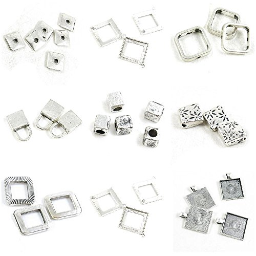 33 Pieces Antique Silver Tone Jewelry Making Charms Square Cabochon Base Blank Rhombus Frame Flower Loose Beads Cube Lock Sheet Bead Caps