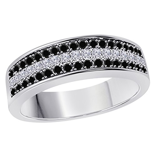 6MM 14K White Gold Finish .925 Silver Plated 0.50CT Black Sapphire & White Cz Diamond Ring 3 Row Pave Half Eternity Men's Wedding Band Ring Size All Available by Star Retail