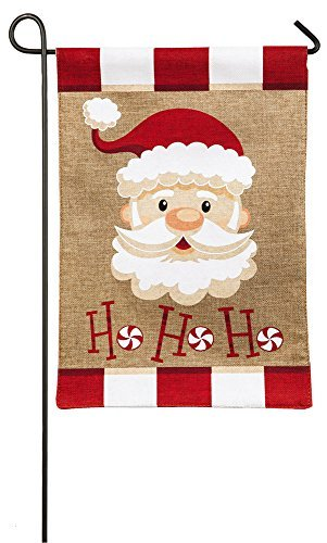 Evergreen Flag Burlap Peppermint Santa Garden Flag, 12.5 x 18 inches