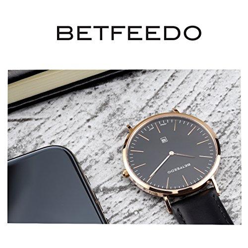 BETFEEDO-Mens-Ultra-Thin-Quartz-Analog-Date-Wrist-Watch-with-Black-Leather-Strap