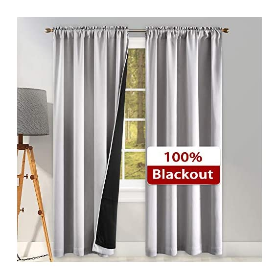 """SUOCAI 100 Blackout Curtains with Black Liners - Solid Thermal Insulated Full Blackout 2-Layer Lined Drapes - Energy Efficiency Window Draperies for Bedroom (2 Panels 42 by 84 Inch Light Grey) - READY MADE: 2 panels per package. Each Blackout Curtain Panel measures 42 inches wide x 84 inches long. 3"""" rod pocket top fits most standard rods.Multiple colors & sizes are available. 100% BLACKOUT: Innovated with high technology,they are the best blackout curtains on the market. These magic window curtains with black liner backing makes the drapes thick enough to completely keep out the 100% SUNLIGHT and UV RAY.Give you a real dark environment, bringing you a good night's sleep during the day. FUNCTIONS:Super Heavy Blackout Lined Curtain Panels can be a good sense of drape,the effect of SOUNDPROOF & THERMAL INSULATED is 2 times higher than the ordinary 1-layer of curtains. - living-room-soft-furnishings, living-room, draperies-curtains-shades - 51t2O75JZeL. SS570  -"""