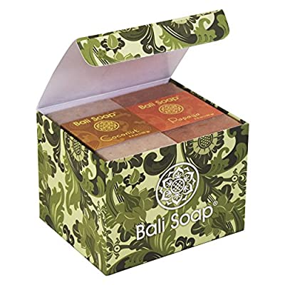 Bali Soap - Natural Soap Bar Gift Set, Face Soap or Body Soap, 6 pc Variety Soap Pack (Coconut, Papaya, Vanilla, Lemongrass, Jasmine, Ylang-Ylang) 3.5 Oz each by Bali Soap USA