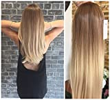 24 Inches Straight Half Head Wig Long OMBRE Brown Blonde NO FRONT PARTING (Straight- Light brown to sandy blonde)