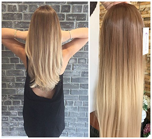 24 Inches Straight Half Head Wig Long OMBRE Brown Blonde NO FRONT PARTING Straight Light brown to sandy blonde