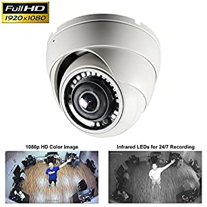 CCTV Camera Pros HD-D180 180 Degree Dome Security Camera | Full HD Over Coax | HD-TVI AHD HDCVI CCTV 1080p | 2MP Wide Angle Indoor Outdoor Home Surveillance Camera