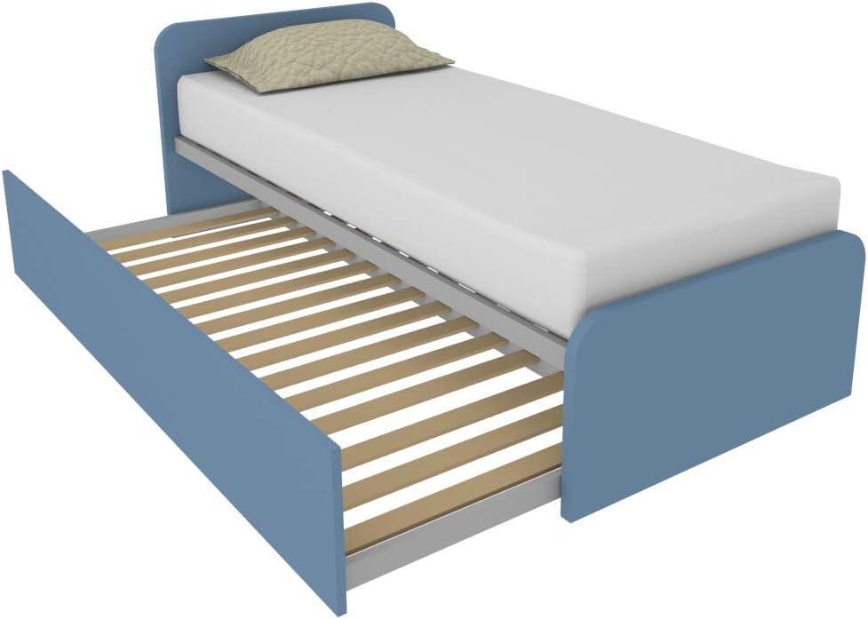 MOBILFINO CAMERETTE 964R - Cama con segunda cama extraíble independiente y elevable para formar una cama de matrimonio, somieres incluidos, cabeceros ...
