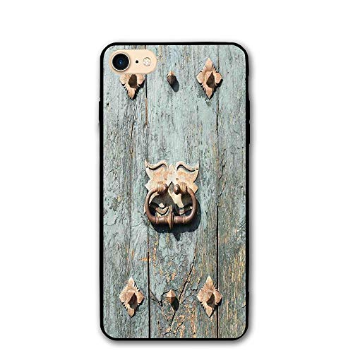 Haixia IPhone 7/8 Phone Case 4.7 Inch Rustic European Cathedral With Rusty Old Door Knocker Gothic Medieval Times Spanish Style Decorative Turquoise