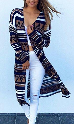 Autunno Eleganti Geometrico Outerwear Donna Battercake Stampato Bianca Giacche Casual Fashion Manica Casuale Cardigan Neck Cappotto Stile Vintage Lunga Donne Lungo V Jacket Etnico tqH1HC