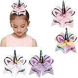 KELYNN Hair Bow Ties, 4 Pcs 7 inch Unicorn Cheer Hair Bows Ponytail Holder with Elastic Band Unicorn Hair Accessories for Woman