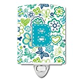 Caroline's Treasures Letter B Flowers and Butterflies Teal Blue Ceramic Night Light, 6 x 4'', Multicolor