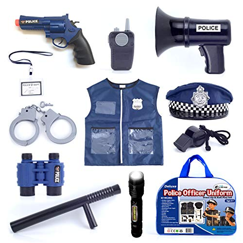 13 Pcs Deluxe Police Costume - Kids Police Uniform Dress Up and Role Play Set, for Detective, Police Officer, Swat Team, Halloween, Theater and Dress Up