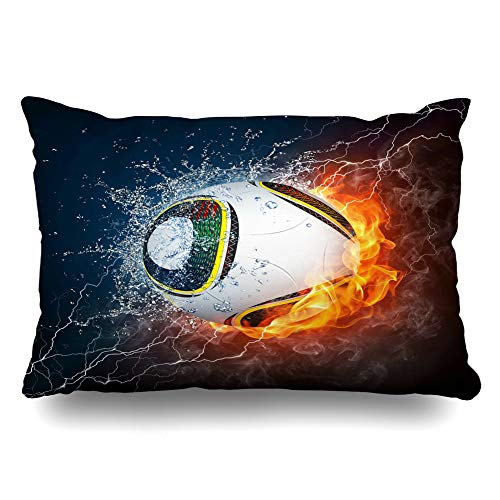 - DIYCow Throw Pillows Covers Soccer Ball On Fire Recreational Water 2 Sports Recreation Glowing Cushion Case Pillowcase Home Sofa Couch King Size 20 x 36 Inches Pillowslips