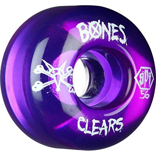 かんがいテナント敬の念Bones Wheels SPFクリア56 mmクリアパープルSkateboard Wheels ( Set of 4 )