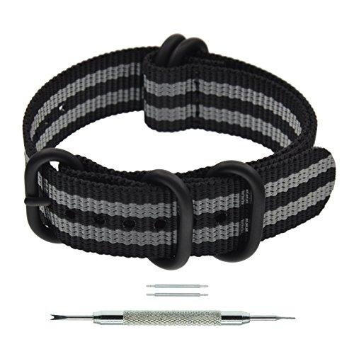 21mm Black/Grey PVD Nylon Bond NATO Strap Band Military Zulu Style Wrist Band