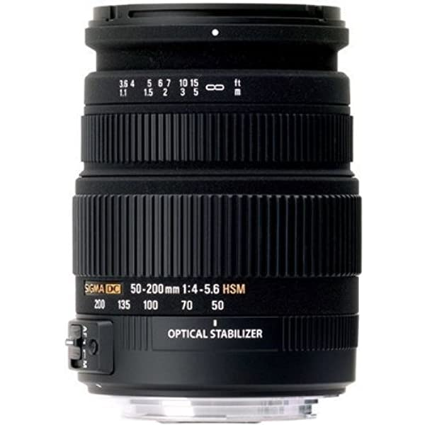 Lens with Hyper Sonic Motor for Canon Digital SLR Cameras OS HSM Sigma 50-200mm f//4.0-5.6 DC IF SLD Optical Stabilized