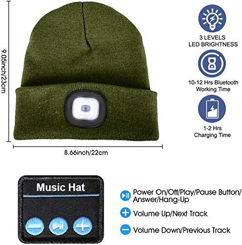 51t2Pt7PBgL ATNKE LED beleuchtete Bluetooth-Beanie-Kappe, wiederaufladbare USB-Musikalische Laufmütze mit extrem hellem 4-LED-Licht…