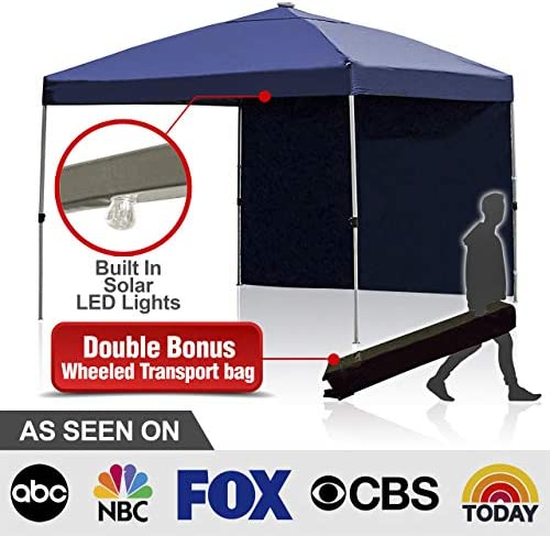 Backyard Expressions – Best 10 x 10 Outdoor Canopy Tent – Free Bonus Solar LED Lights and Side Walls