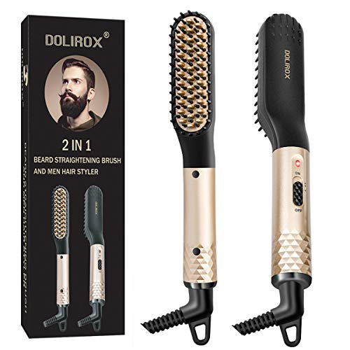 Beard Straightener for men, Multifunctional Hair Styler Electric Hot Comb and Beard Straightening Brush Hair Straightening Comb with Dual Voltage 110-240V Great for Travel