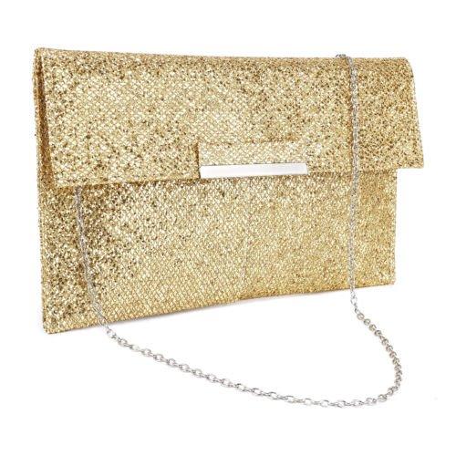 The Pecan Man Gold Metal Bar Flap Glitter Shimmer Lurex Women Clutch Soft Shoulder Bag Envelope