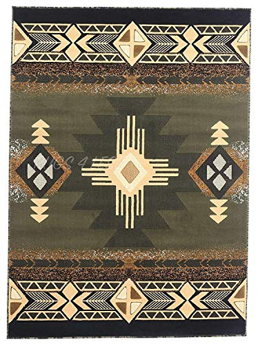 Rugs 4 Less Collection Southwest Native American Indian Area Rug Design R4L 318 Olive Green, Sage Green (3'10''x5'1'')